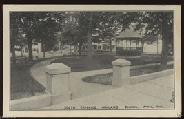 1915 Gazebo Park ATHOL Highland Common MASSACHUSETTS MA Postcard Crowley - $4.95