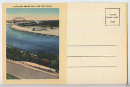 Vintage CAPE COD Canal Sagamore Bridge MASSACHUSETTS Mass. MA 1940's Pos... - $4.50