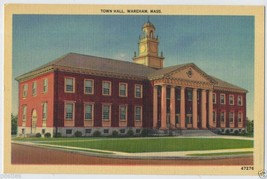 1940's Town Hall Building WAREHAM Mass. MA Massachusetts Linen POSTCARD - $3.95