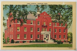 1940 TOBEY Hospital WAREHAM Mass. MA Massachusetts Linen POSTCARD - $3.95