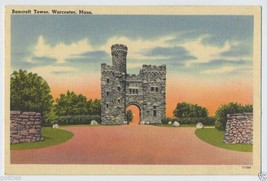 1952 WORCESTER Bancroft Tower MA Mass. Massachusetts POSTCARD - $3.95