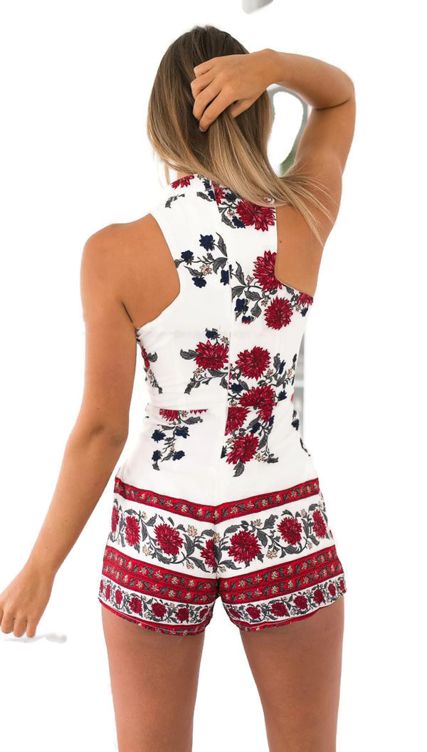 O-Neck Hollow Out Floral Women Jumpsuit