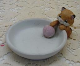 "Vintage ""CUDDLY KITTEN"" Kitten With Yarn Ball Ring/Trinket Dish - $7.99"