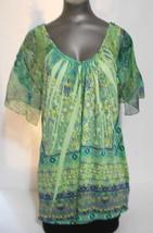 One World Green  Green  Sublimation Print Cap Sleeve Top Size L - $11.72