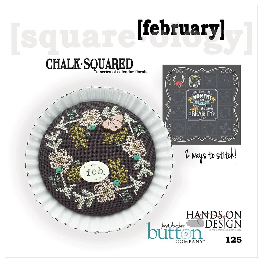 BUTTON PACK February Chalk Squared JABC 10142 cross stitch Just Another Button