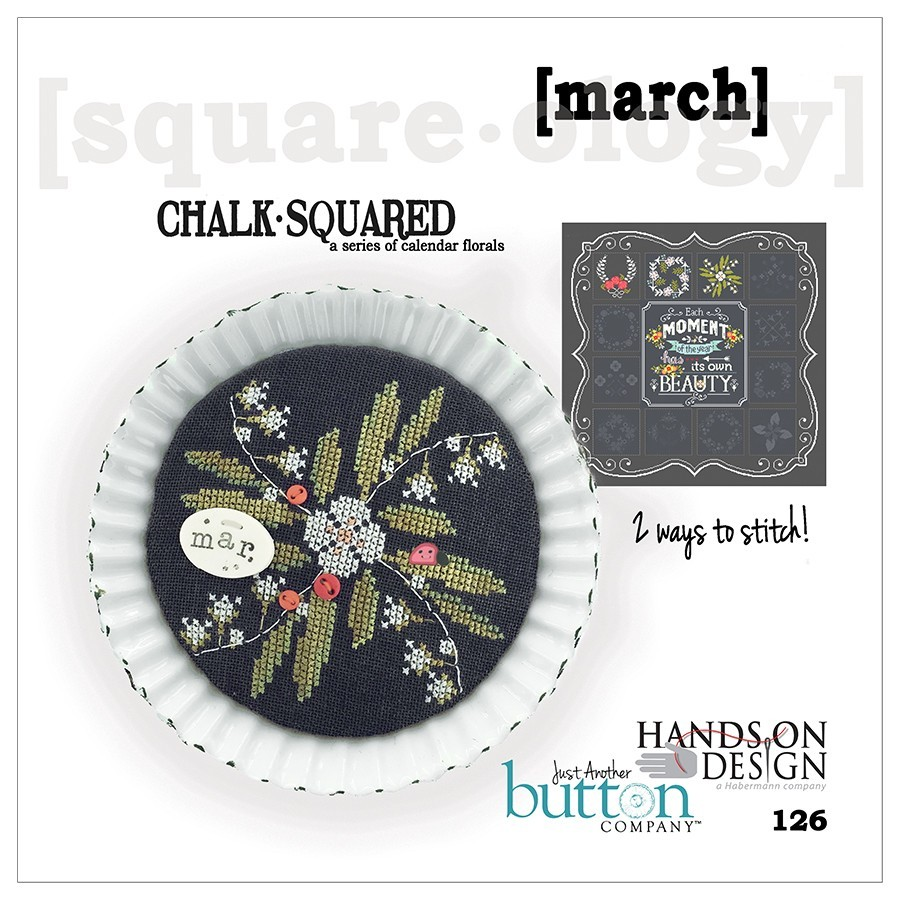 BUTTON PACK March Chalk Squared JABC 10143 cross stitch Just Another Button