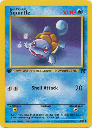 Squirtle 68/82 Common 1st Edition Team Rocket Pokemon Card