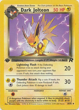 Dark Jolteon 38/82 Uncommon 1st Edition Team Rocket Pokemon Card