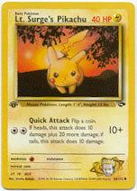 Lt. Surge's Pikachu 84/132 Common 1st Edition Gym Challenge Pokemon Card