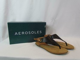 NIB Aerosoles Beige And Black Sandal Flat Buckle With Gold Circle Accent... - $46.54