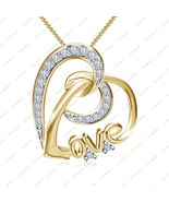 14K Gold Plated 925 Sterling Silver CZ Romantic Love Heart Pendant W/ 18... - £12.13 GBP