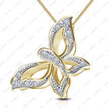 "14K Gold Plated 925 Silver White CZ Beautiful Butterfly Pendant W/ 18"" C... - $34.00"