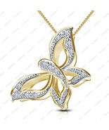 """14K Gold Plated 925 Silver White CZ Beautiful Butterfly Pendant W/ 18"""" C... - $34.00"""
