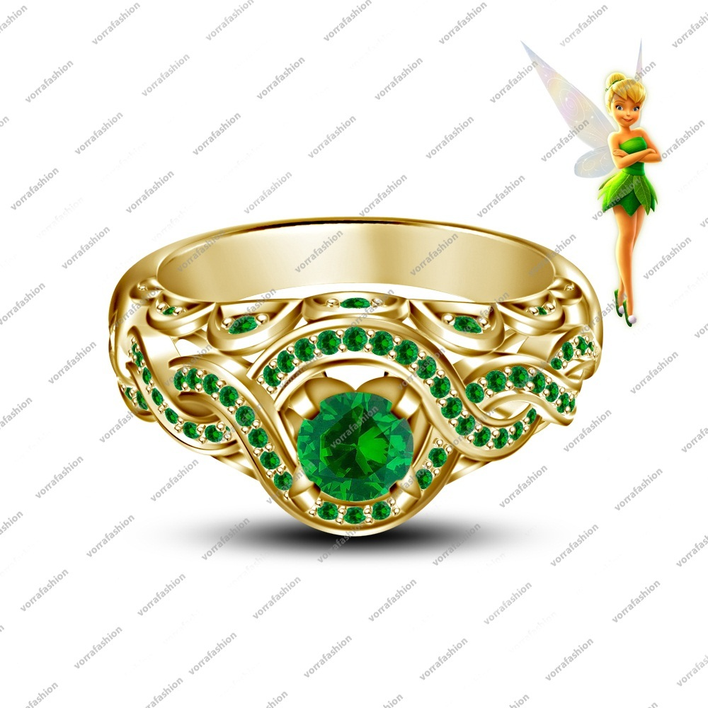 Green Sapphire 14K Yellow Gold Over 925 Tinker Bell Disney Fairies Wedding Ring