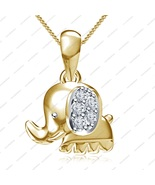 """14K Gold Plated White CZ Good Luck Charm Happy Elephant Pendant with 18""""... - £26.69 GBP"""
