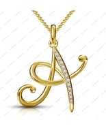 "14K Gold Plated 925 Silver Sparkles White CZ ""A"" Alphabet Pendant With 1... - $56.00"