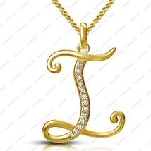 "14K Gold Plated 925 Silver Sparkles white CZ ""I"" Alphabet Pendant With 1... - $56.00"