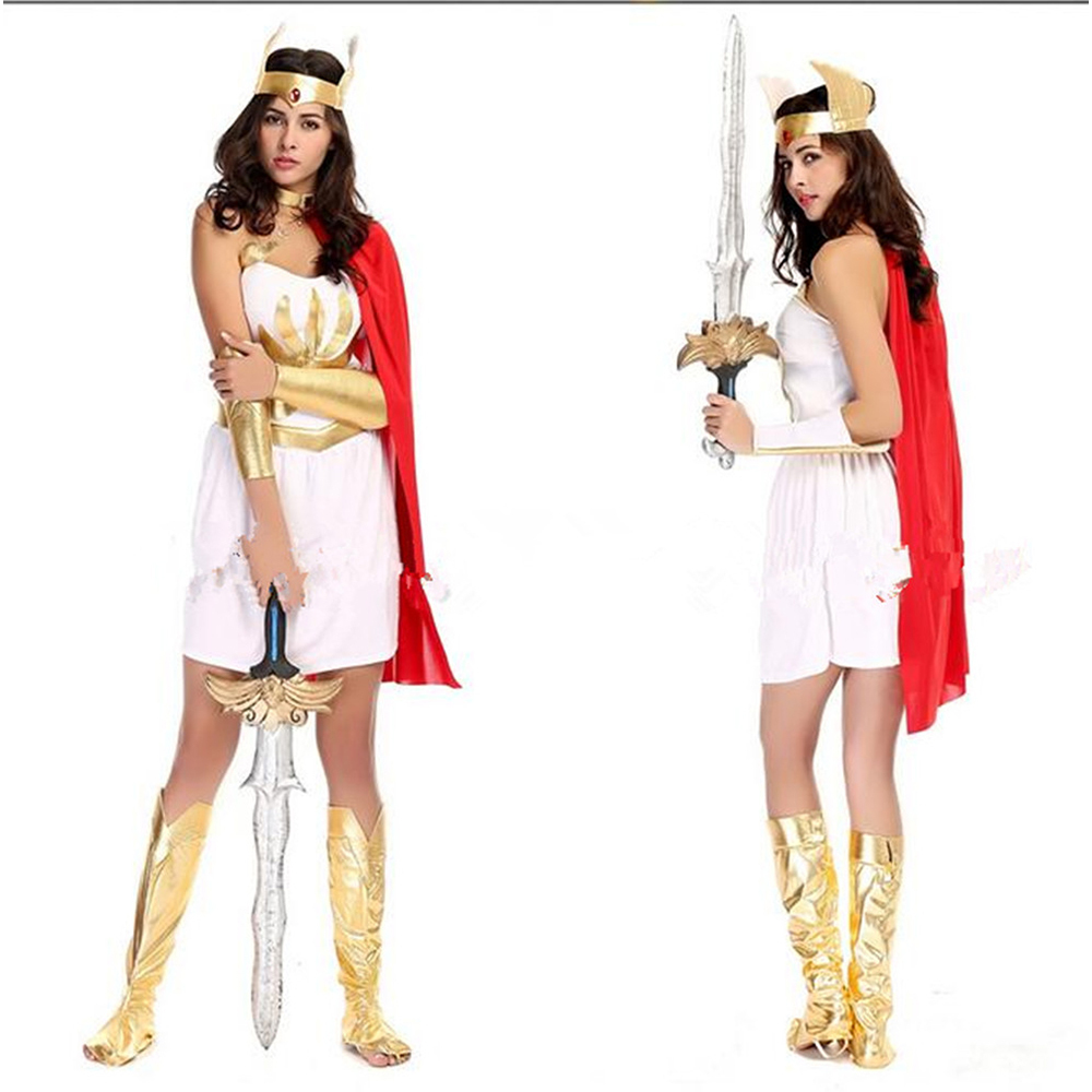Greek Goddess Roman woman warrior Costume Adult Toga Roman Halloween Fancy Dress