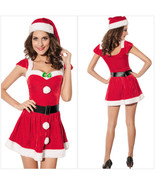 Adult Women Christmas Red Santa Claus Velvet Costume Outfit Fancy Dress ... - $23.99