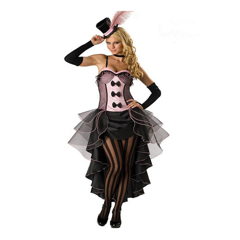 European Woman Jazz Dance Night Club Singer Costume Cosplay pink S