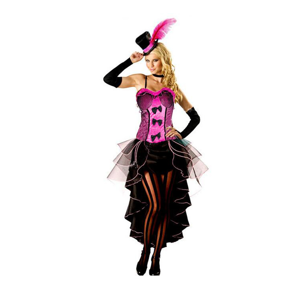 European Woman Jazz Dance Night Club Singer Costume Cosplay rose red S