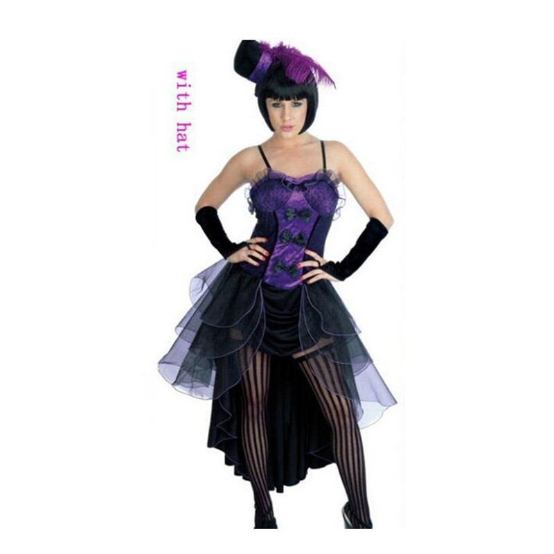 European Woman Jazz Dance Night Club Singer Costume Cosplay purple S