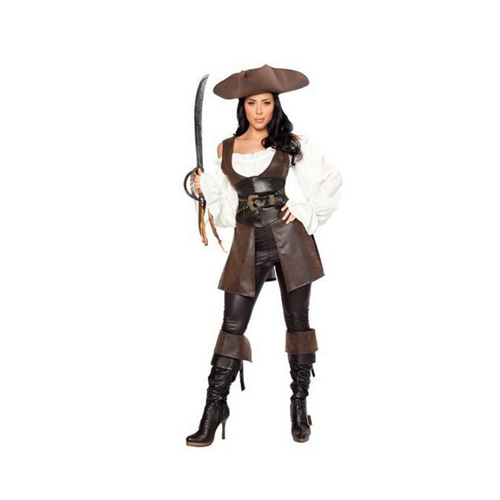 Superior Leather Pirate Garment Cosplay Game Sexy Uniform  M