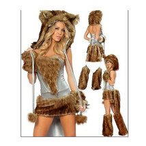 European Halloween Animal Game Garment Big Tail Wolf  brown - $57.99