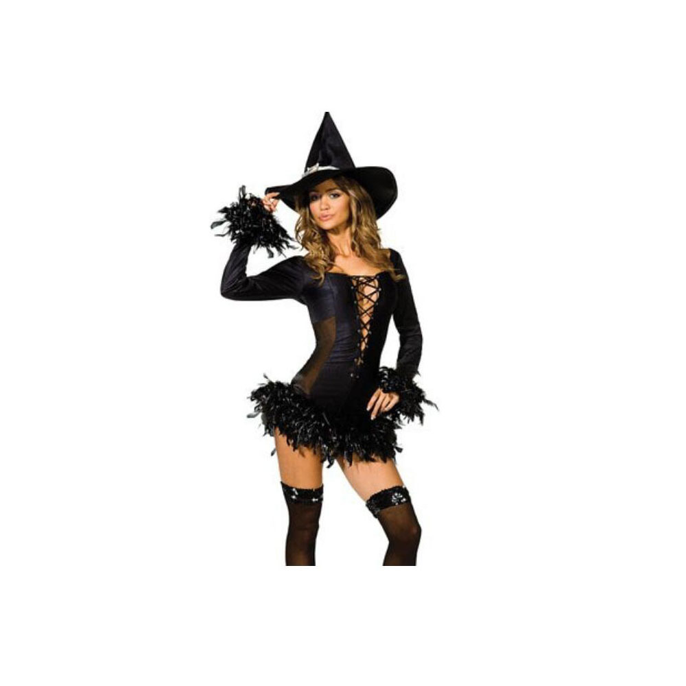 Black Slim Witch Cosplay Garment Sexy Feather Night Club  M
