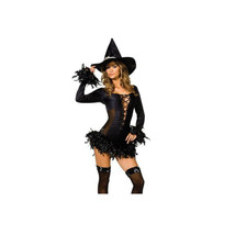 Black Slim Witch Cosplay Garment Sexy Feather Night Club  M - $39.99