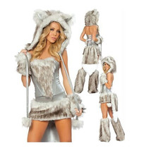 European Halloween Animal Game Garment Big Tail Wolf  grey - $57.99
