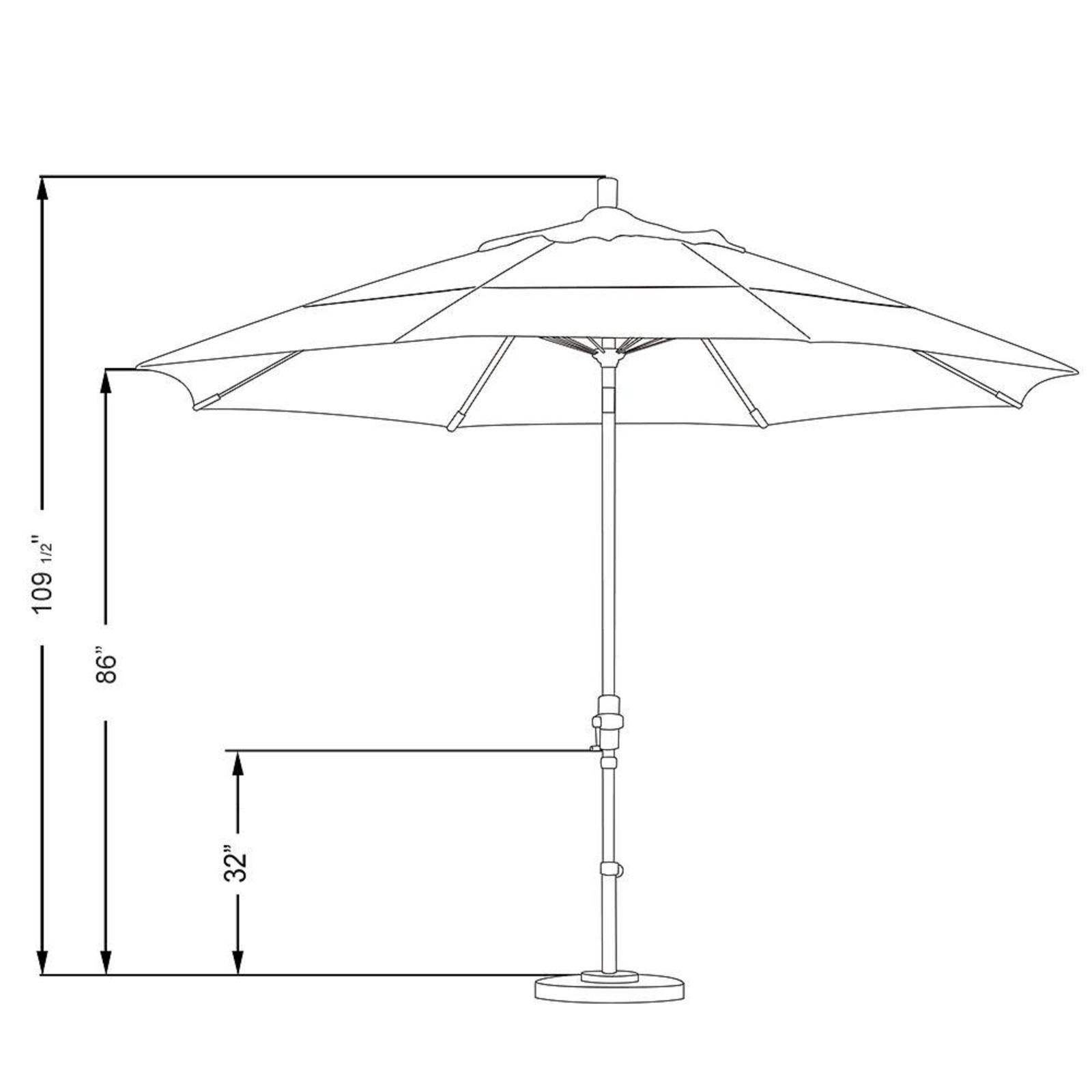 Outdoor Umbrella Shade 11 ft Fiberglass Collar Tilt Double Vented Unique Octagon