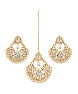 Indian Bollywood Kundan Bridal Gold Plated Pearl Party Maang Tikka Earri... - $16.14