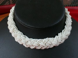 Vintage 1950's White Seed Beads Braided Multi Strand Necklace - $12.59