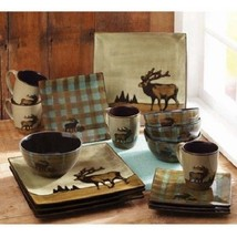 Dinner Set Dinnerware Kitchen Square Dishes Plates Mugs Stone Ceramic 16... - $72.98