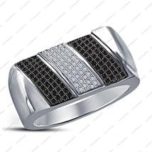14K White Gold Plated 925 Silver Black & White CZ Lovely Men's Engagement Ring - £72.33 GBP