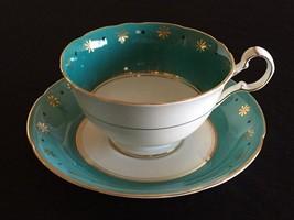 Vintage Royal Grafton Blue Fine Bone China Tea Cup Saucer Flowers Dots E... - $25.73