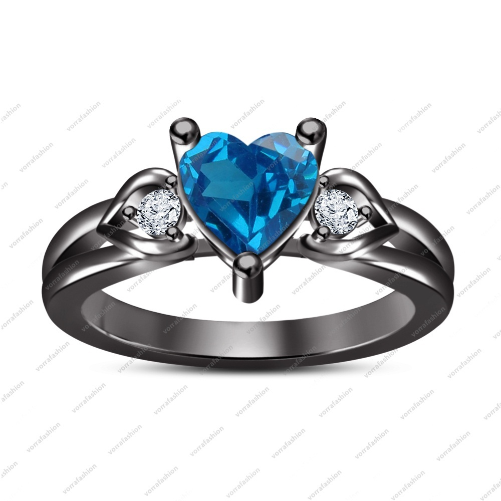Primary image for 14k Black Gold Finish 925 Sterling Blue Topaz & White CZ Heart Shape Band Ring