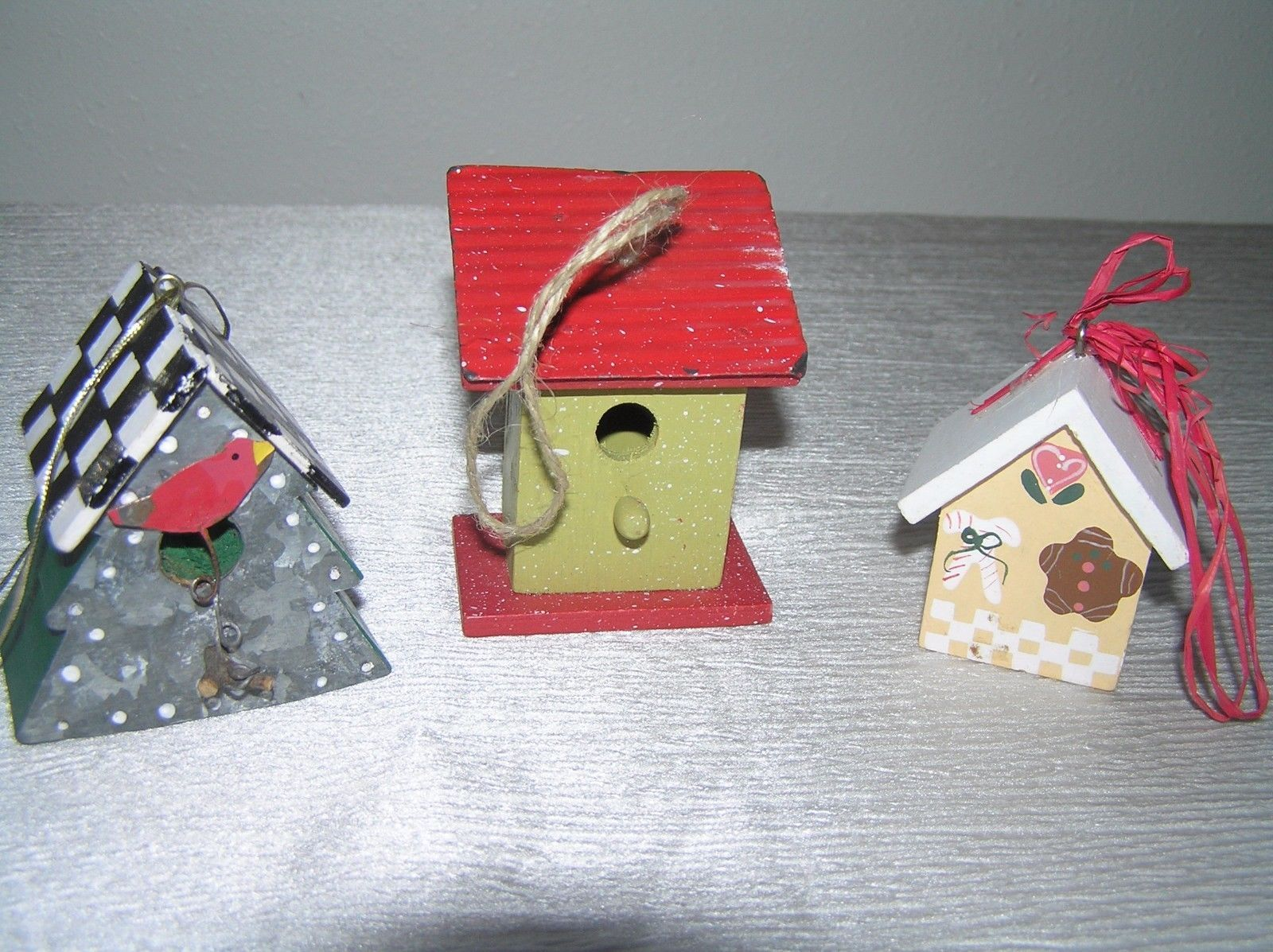 Vintage Lot of 3 Red & Cream Painted Wood & Metal Checkboard Roof Gingerbread