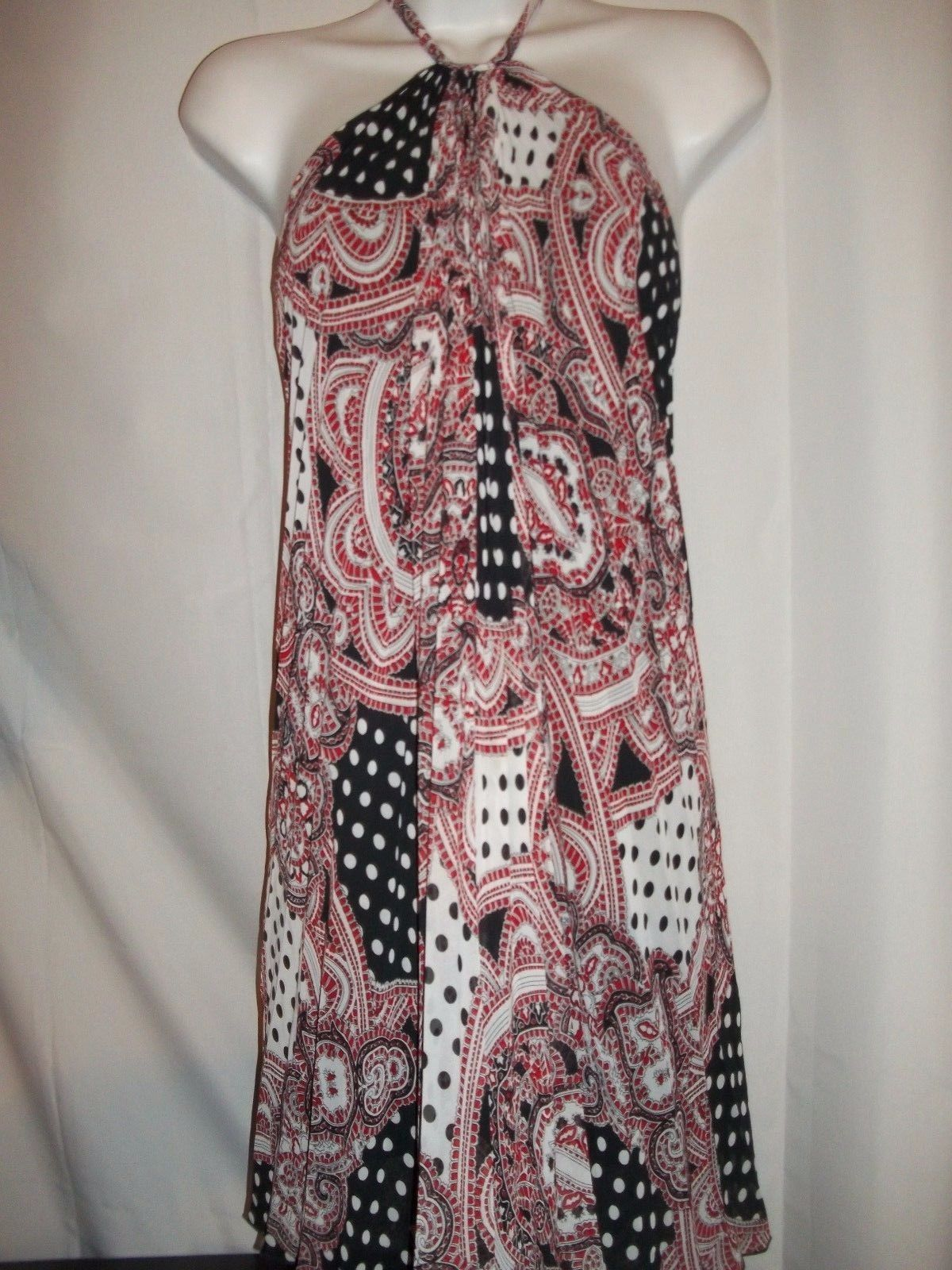 Ladies Size XS Frederick's Sexy Halter Dress In Black red And White polka dot  - $24.74