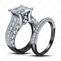 Black Rhodium Plated Sterling Silver Princess Cut CZ Engagement Bridal Set Ring - $118.99