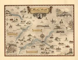 1934 pictorial map homeland of President Lincoln Vignettes Portrait POST... - $15.84
