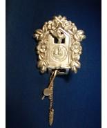 Vintage Cuckoo Clock Pin/ Brooch / Fur Clip Sig... - $21.00