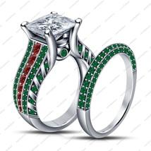 925 Silver White GP Princess Multicolored CZ Bridal Engagement Ring Set - $123.67