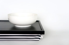 Breakfast serving or Laptop Lap Desk with Pillow Tray- Black and White with Stri - $68.00