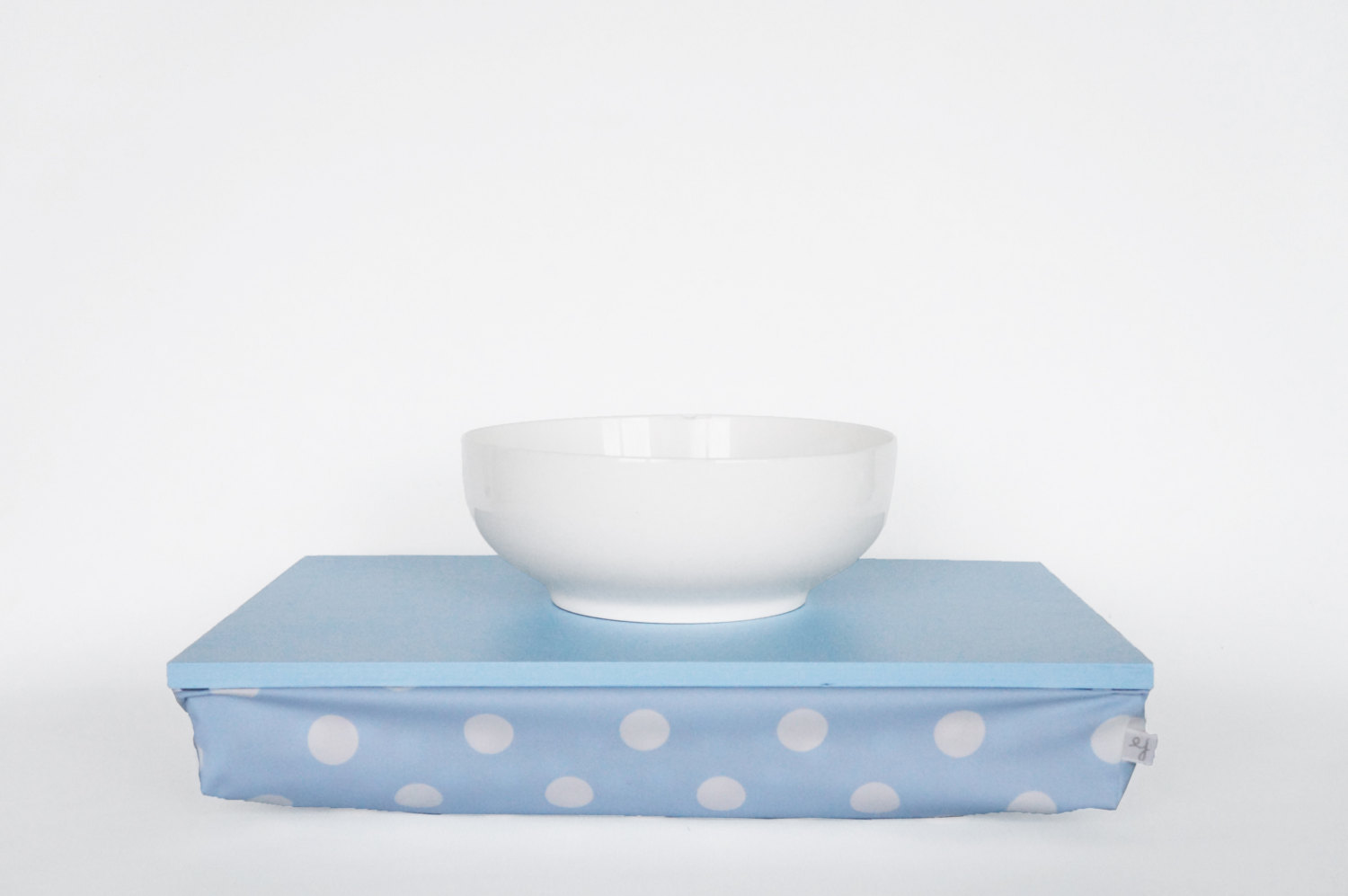 Polka dot serving tray with pillow, laptop stand- light slate blue tray with lig