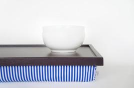 Breakfast serving pillow tray, laptop stand, riser - dark plum purple with blue  - $60.00