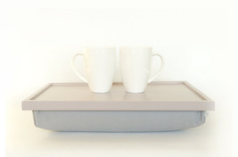 Serving Tray, Bed table- Soft Grey with Grey cotton Fabric pillow- L or XL size - $60.00