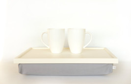 Laptop Lap Desk or Breakfast serving Tray - Off White with Grey linen/ cotton mi - $60.00