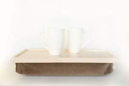 Velvet pillow Breakfast serving or Laptop Lapdesk- pastel peach with taupe light - $65.00